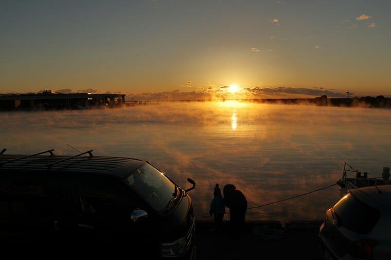 那珂湊港の日の出
