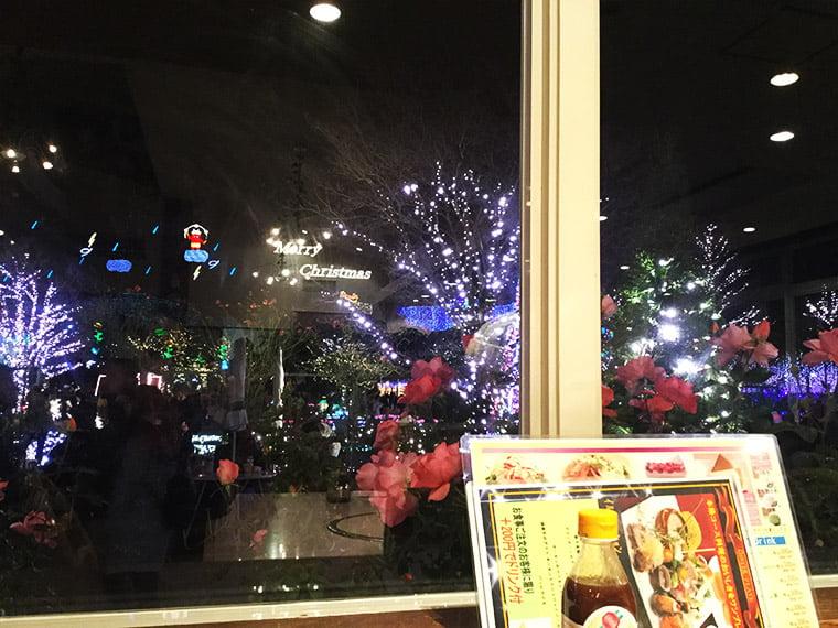 レストランから眺めるイルミネーション