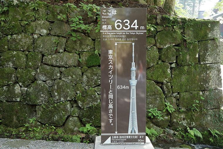 日光東照宮の標高と東京スカイツリーの高さを紹介するパネル
