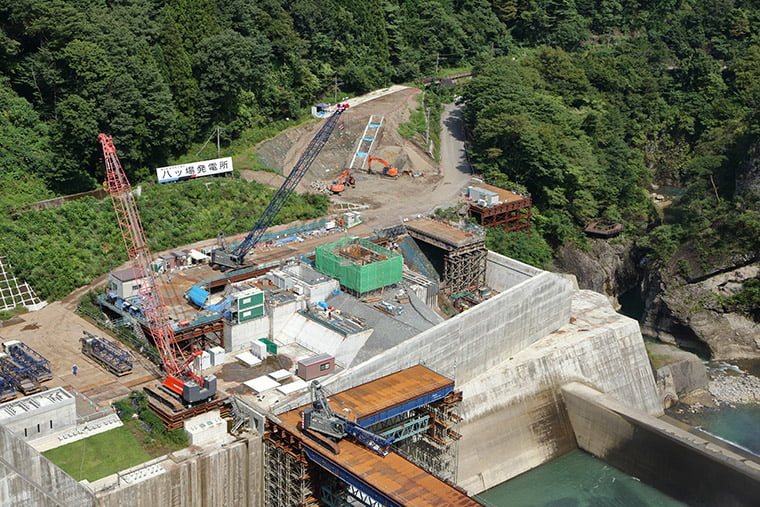 八ッ場発電所の工事現場